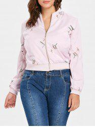 Plus Size Embroidered Bomber Jacket -