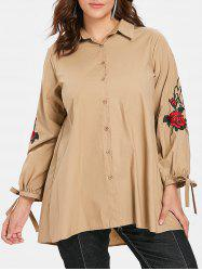 Floral Embroidery Plus Size Tied Sleeve Shirt -