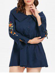 Floral Embroidery Flare Sleeve Plus Size Shirt Dress -
