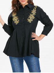 Embroidery Plus Size A Line Shirt -