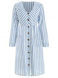 Full Sleeve Button Up Stripe Dress -
