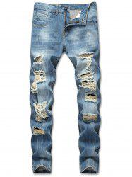 Zipper Pockets Destructed Whiskers Jeans -