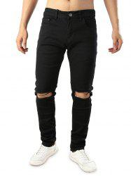 Zipper Fly Whickers Casual Ripped Jeans -