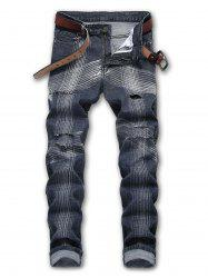 Line Print Whiskers Zipper Fly Jeans -