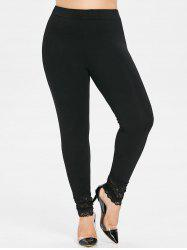 Plus Size Lace Panel Skinny Leggings -