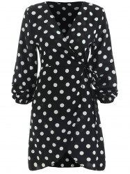 Long Sleeve Polka Dot Wrap Dress -