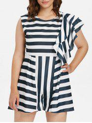 Layered Ruffle Detail Plus Size Striped Romper -