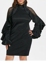 Lace Panel Plus Size Tiered Flare Sleeve Bodycon Dress -