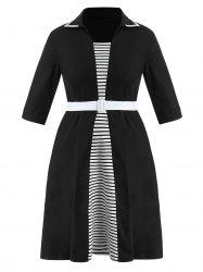 Plus Size Striped Flared Dress with Belt -