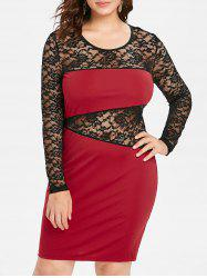 Plus Size See Through Lace Insert Party Dress -