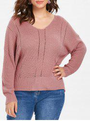 Plus Size Fitted V Neck Sweater -