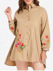 Plus Size Flamingo Embroidery Shirt Dress -