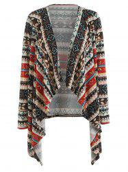 Christmas Print Open Front Cardigan -