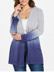 Collarless Plus Size Ombre Coat -