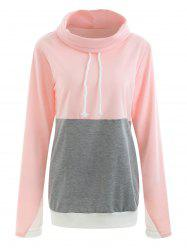 Drawstring Turtleneck Contrast Sweatshirt -