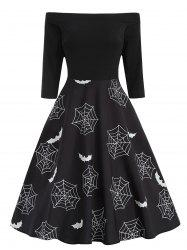 Halloween Bat Print Off The Shoulder Dress -