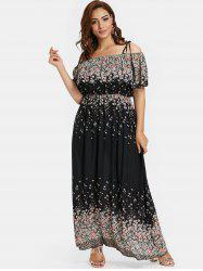 Plus Size Floral Maxi Overlay Dress -