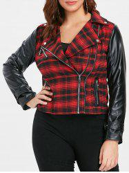 Plus Size PU Panel Zip Front Plaid Jacket -