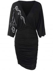 Octopus Claw Print Ruched Surplice Dress -