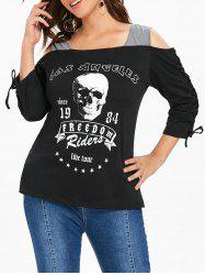 Plus Size Skull Graphic Cold Shoulder T-shirt -