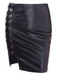 High Rise Faux Leather Lace Up Skirt -