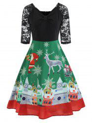 Christmas Lace Panel Vintage Swing Dress -
