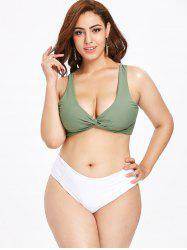 Two Tone Plus Size Twist Bikini Set -