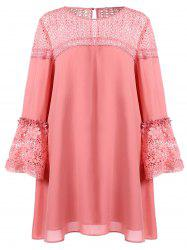 Plus Size Flare Sleeve Lace Insert Shift Dress -