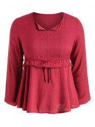 Long Sleeve Plus Size Drawstring Waist Blouse -