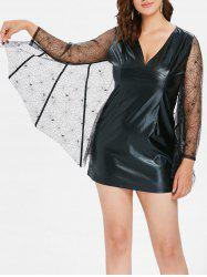 Plus Size Halloween Faux Leather Bodycon Dress -