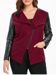 Plus Size PU Color Block Jacket -