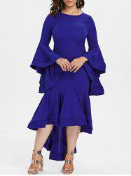 Tiered Bell Sleeve Plus Size Flounce Hem Party Dress -