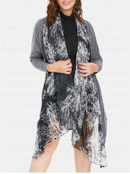Sheer Plus Size Printed Asymmetrical Coat -