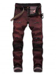 Color Wash Straight Whiskers Jeans -