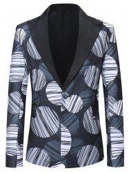Round Striped Pattern One Button Blazer -