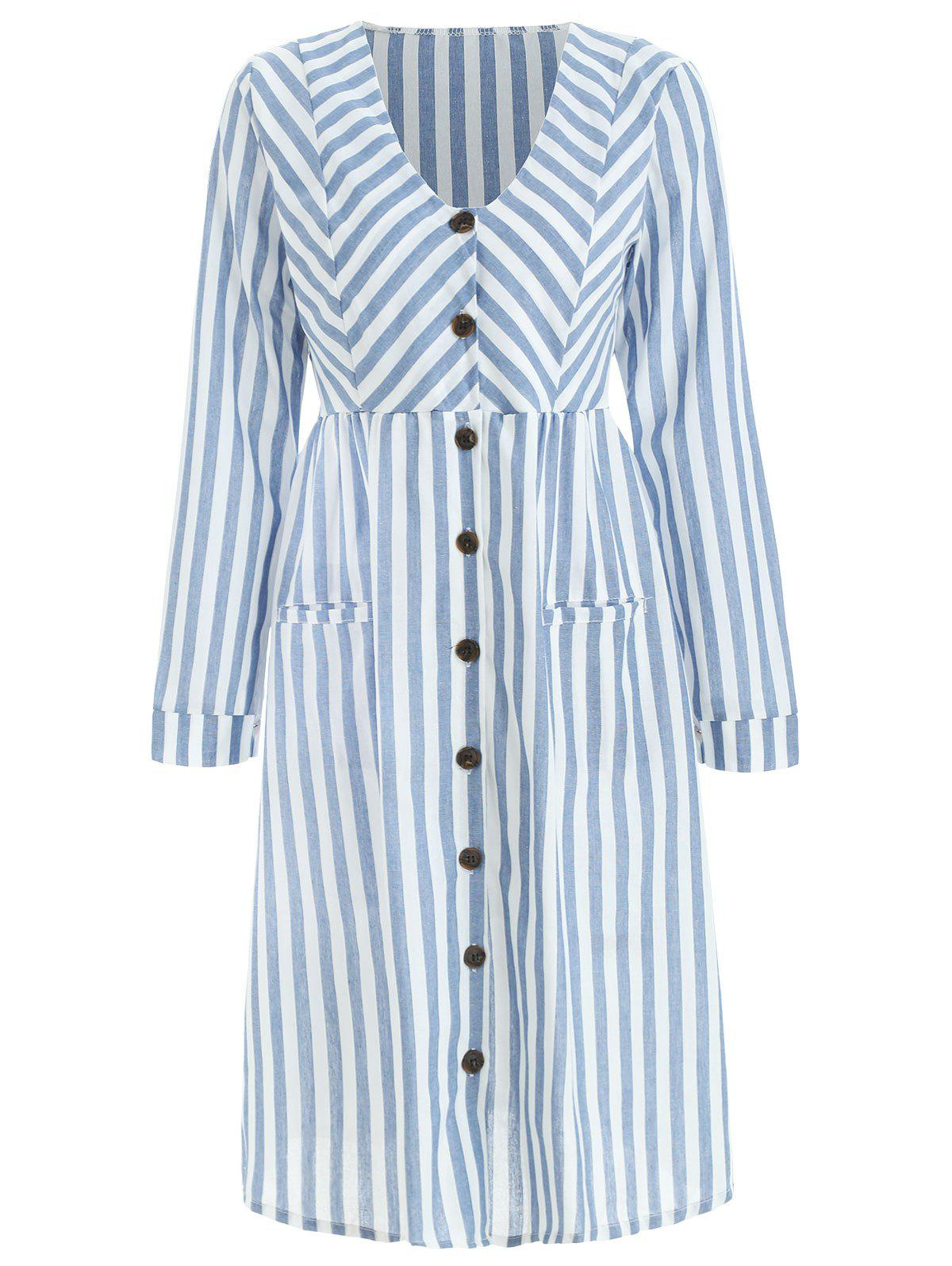 Store Full Sleeve Button Up Stripe Dress