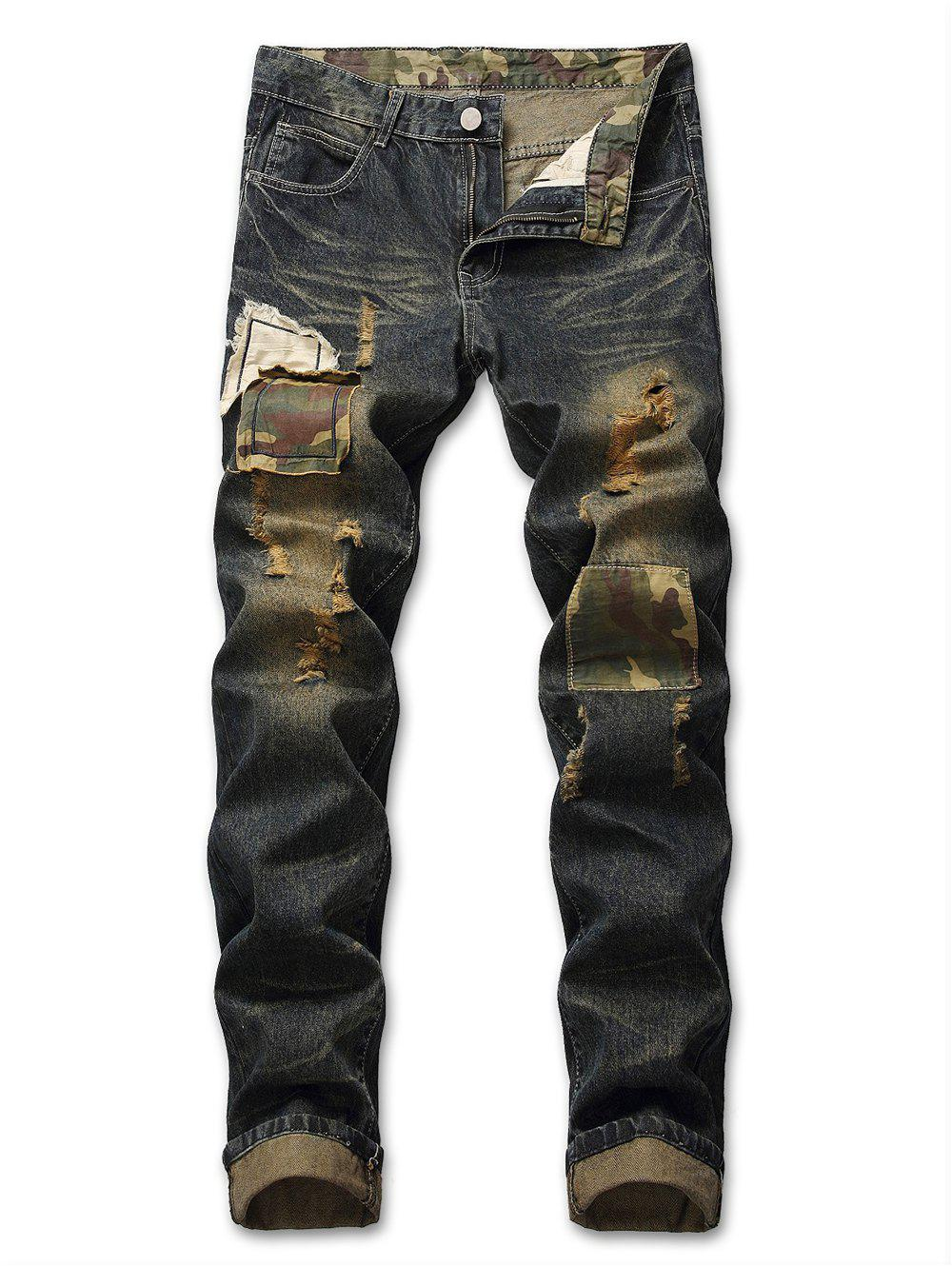 Unique Zip Fly Ripped Camouflage Panel Jeans
