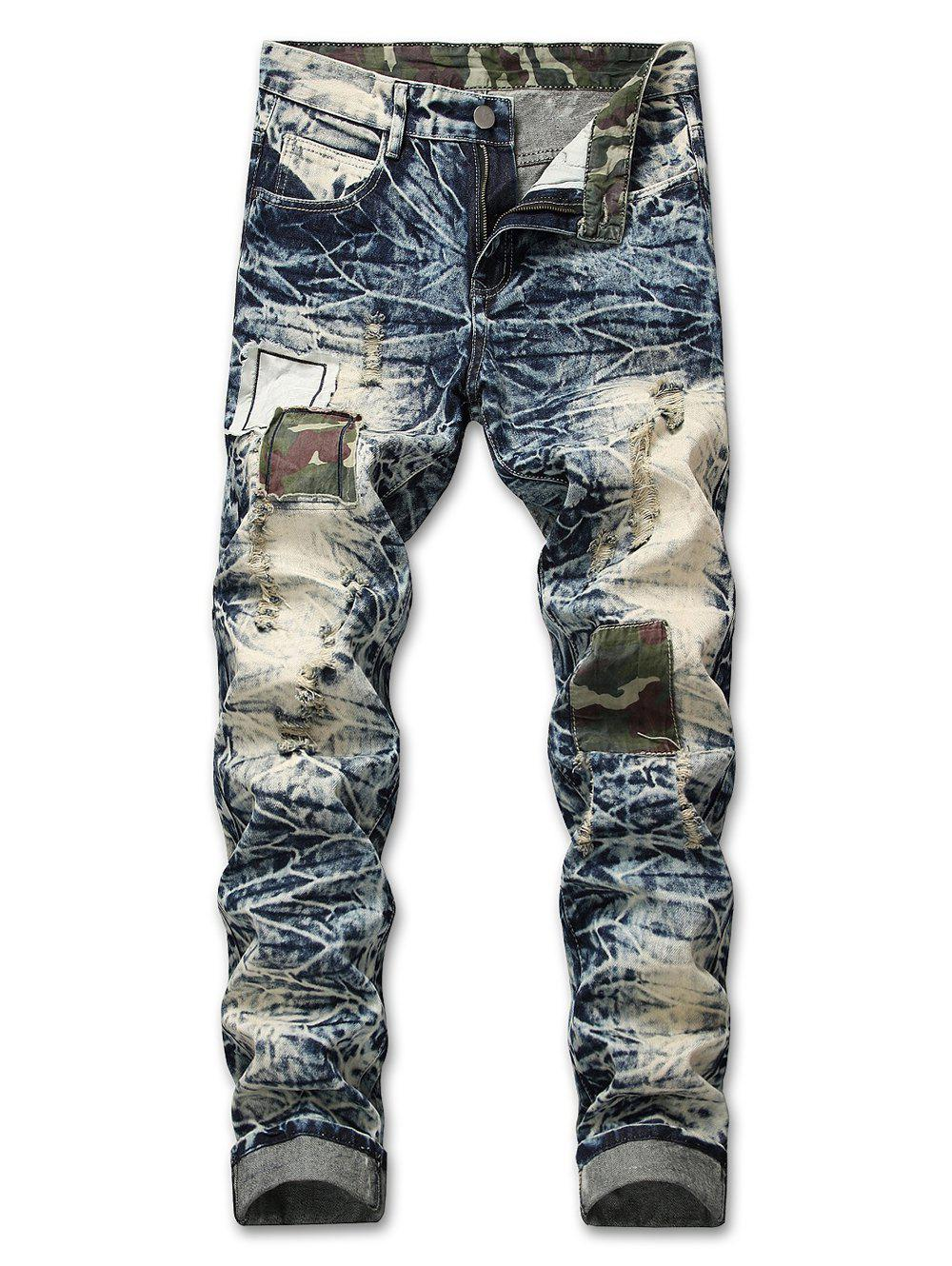 Sale Ripped Faded Wash Camo Panel Jeans