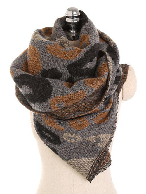 Discount Winter Leopard Pattern Fringed Scarf