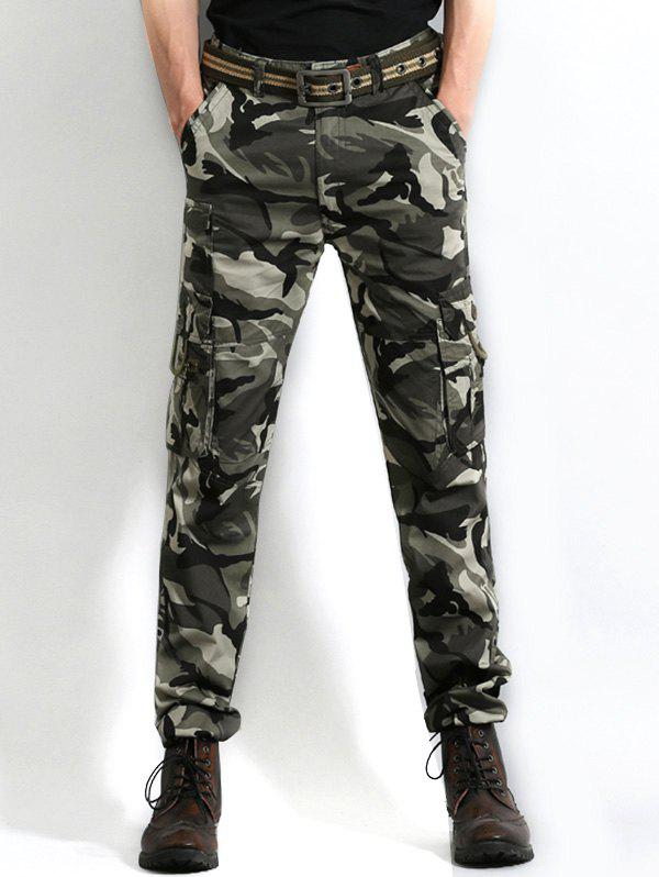 Trendy Zip Fly Camo Print Cargo Pants