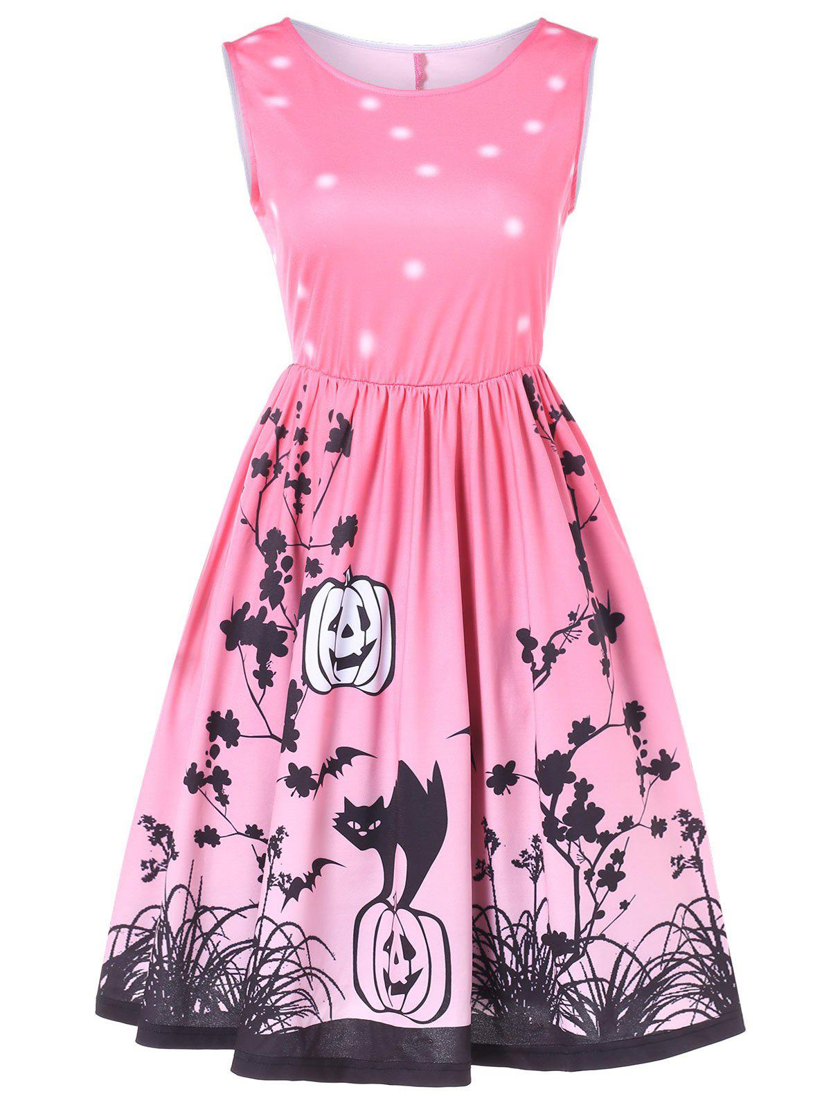 Cheap Halloween Printed Vintage Swing Dress