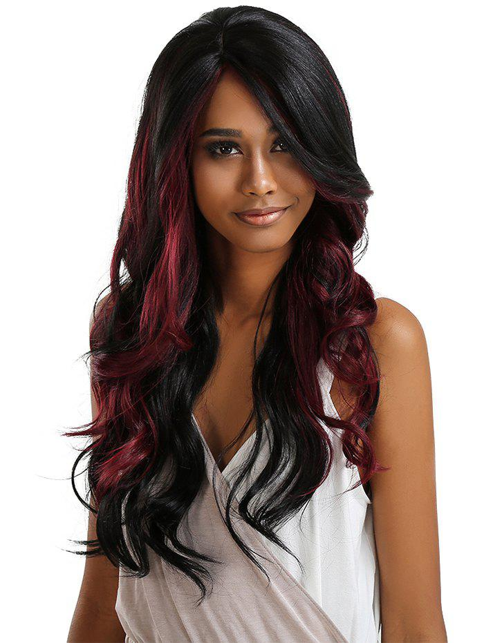 Buy Long Side Parting Ombre Wavy Lace Front Synthetic Wig