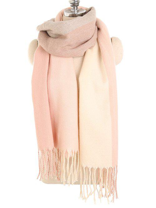 Store Winter Fringed Color Splice Long Scarf