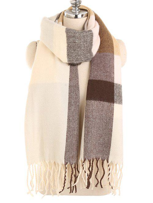 Online Winter Fringed Color Splice Long Scarf