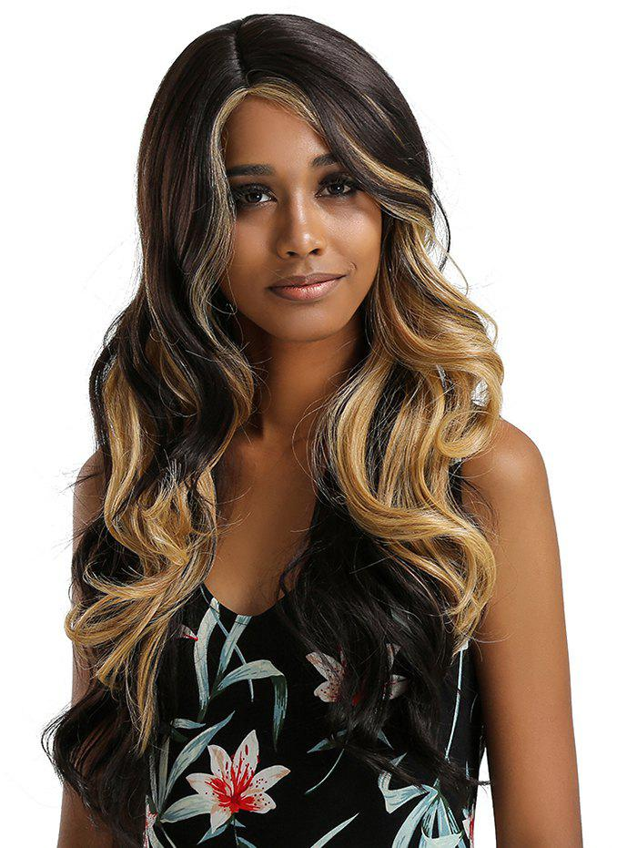 Sale Long Side Parting Ombre Wavy Lace Front Synthetic Wig