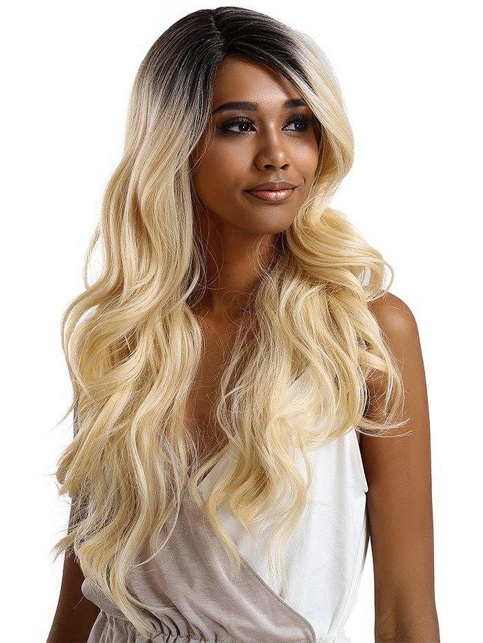 Discount Long Side Parting Ombre Wavy Lace Front Synthetic Wig