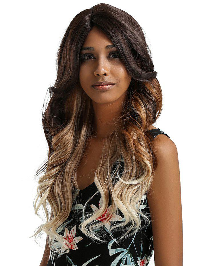 Outfit Long Side Parting Ombre Wavy Lace Front Synthetic Wig