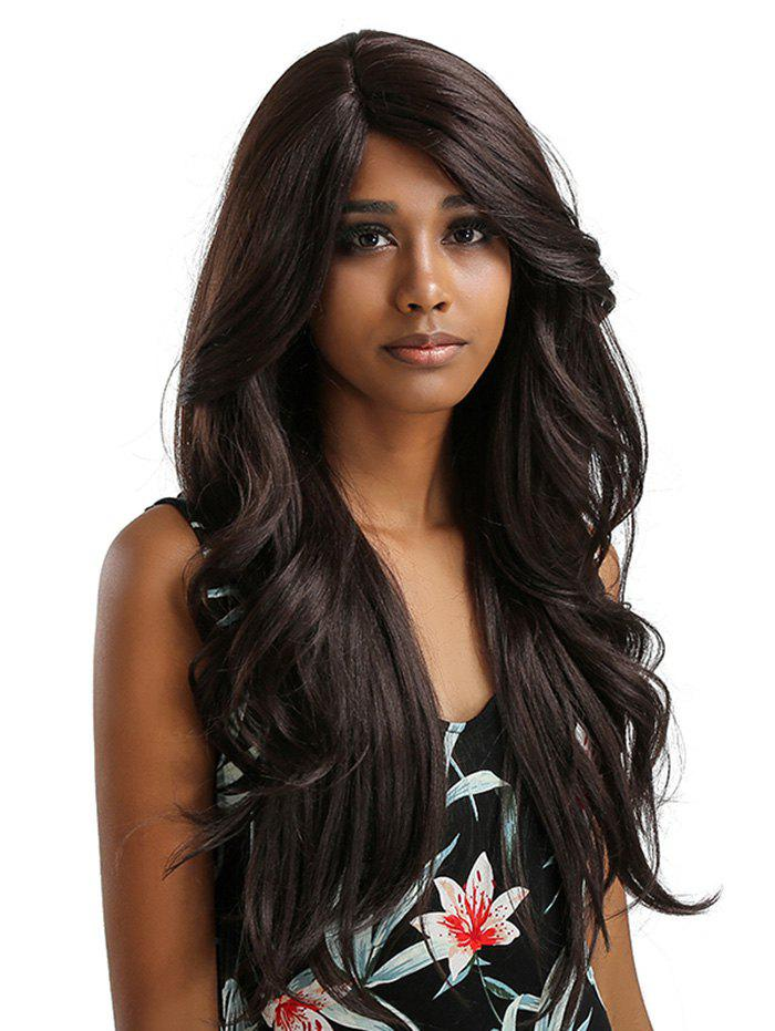 Latest Long Inclined Bang Wavy Feathered Flip Synthetic Lace Front Wig