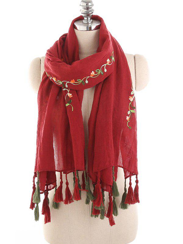Hot Floral Embroidery Spring Fall Scarf