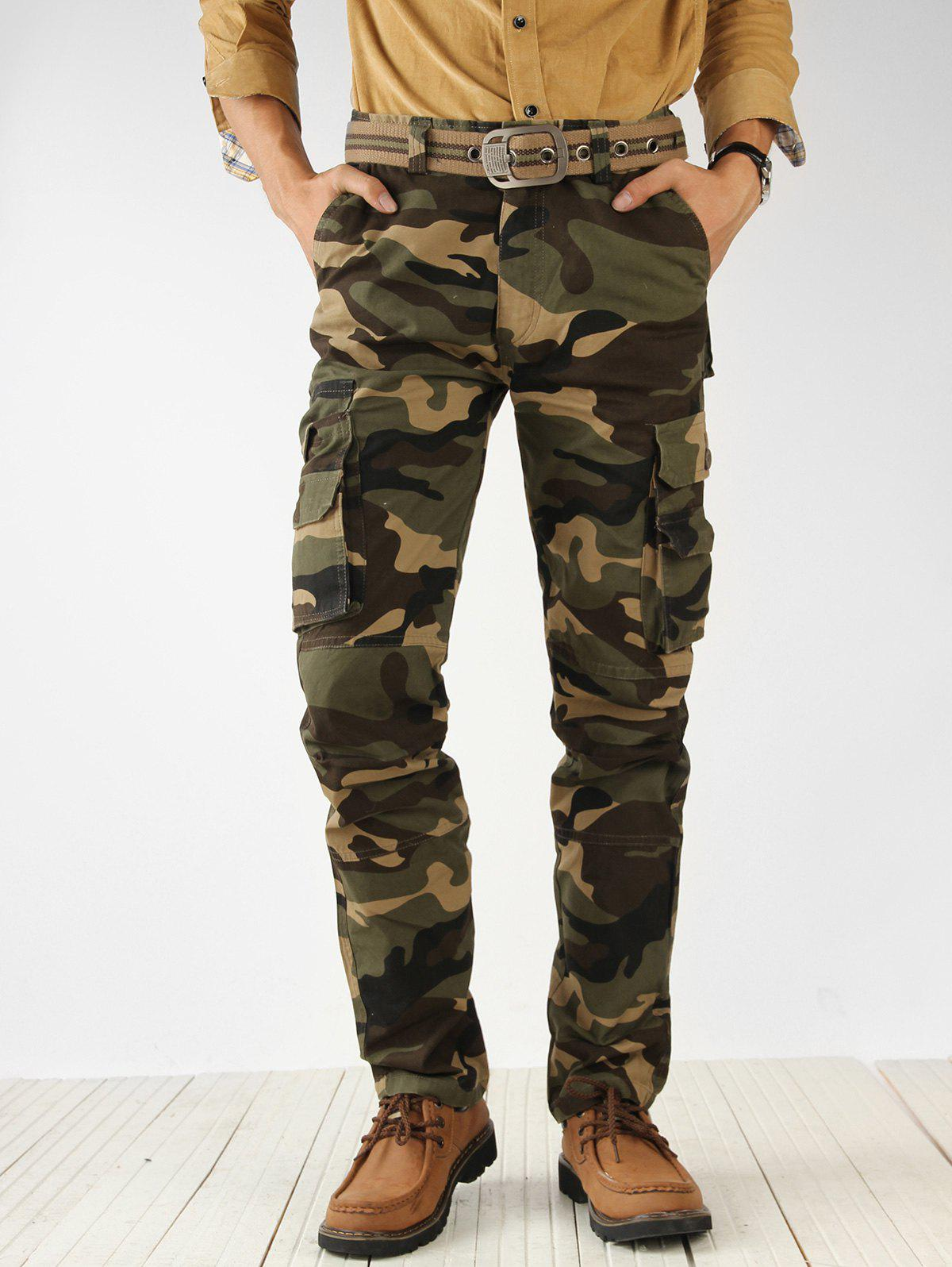 Buy Camouflage Print Multi Pockets Cargo Pants